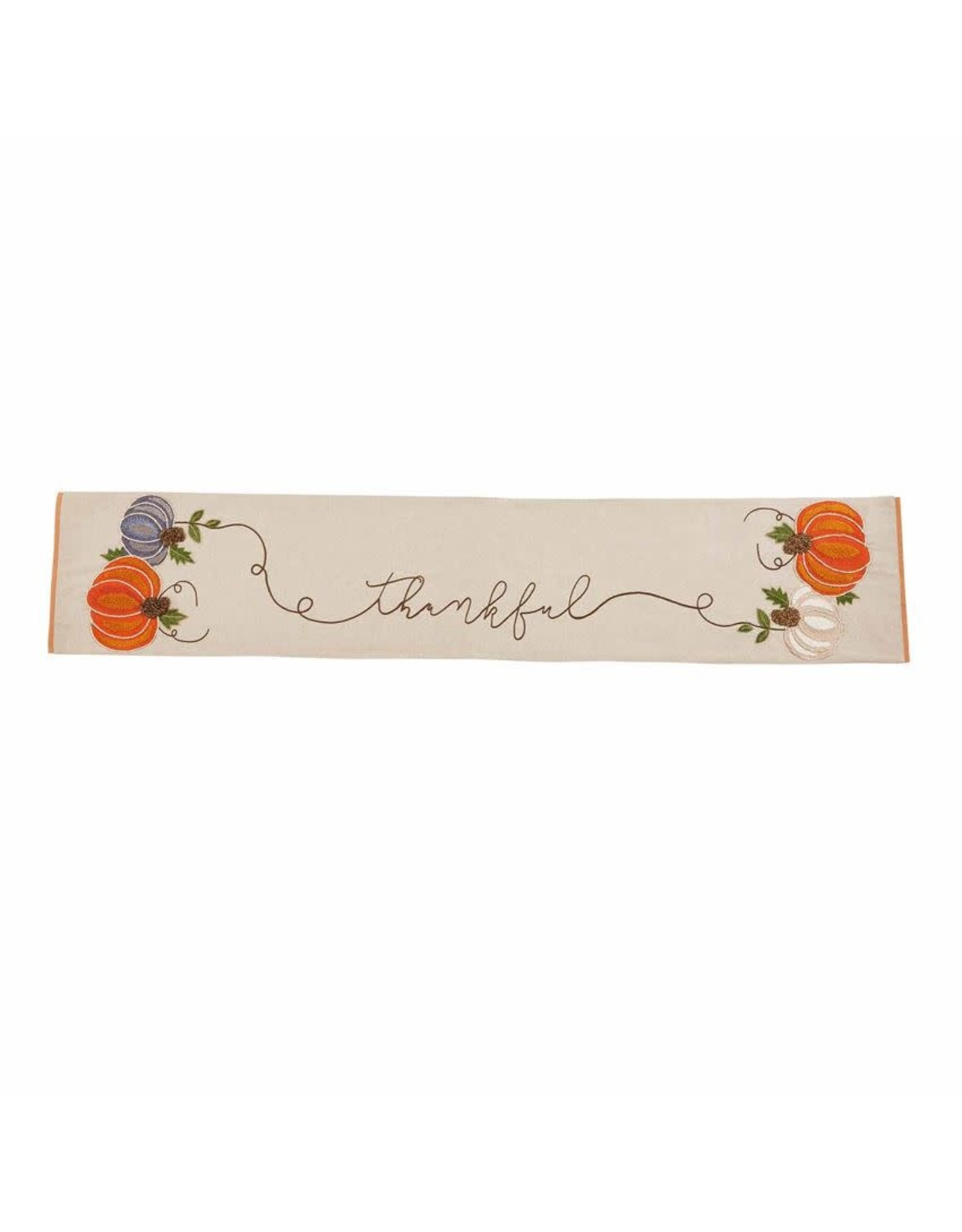 Mud Pie Thanksgiving Table Runner W Embroidered Thankful And Pumpkins