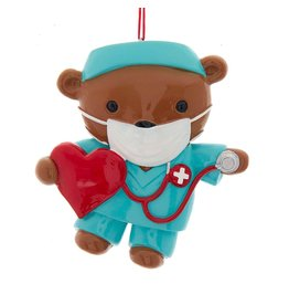 Kurt Adler Nurse Bear In Mask And Scrubs Ornament For Personalization