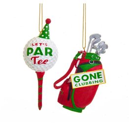 Kurt Adler Golf Equipment Christmas Ornaments Set W Tee And Golf Bag
