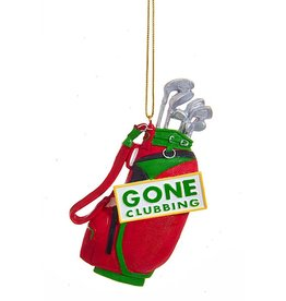 Kurt Adler Gone Clubbing Golf Bag Golfers Christmas Ornament