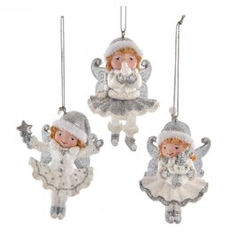 Kurt Adler Silver And White Fairy Ornaments Set Of 3 Assorted