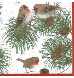 Caspari Paper Dinner Napkins Christmas Woodland Birds 20pk