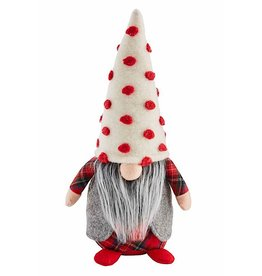 Mud Pie Christmas Gnome Sitter Medium Red Pom Pom Dot Hat 14 Inch