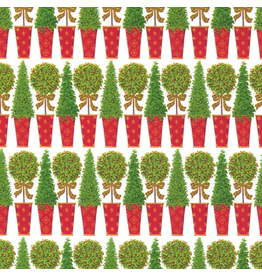 Caspari Christmas Gift Wrapping Paper 8ft Roll Topiary Stripe