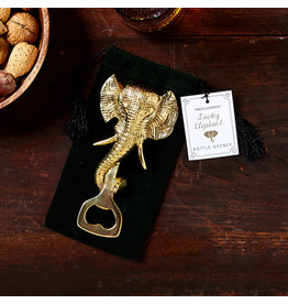 Twos Company Lucky Elephant Brass Bottle Opener With Gift Pouch