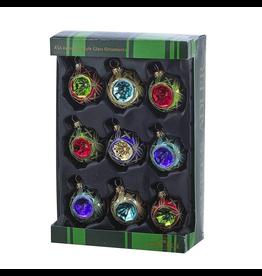 Kurt Adler Multi-Colored Glass Reflector Ornaments 9pc Set