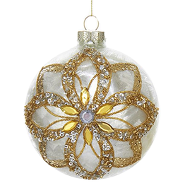 Kurt Adler Glass Ivory Ornament Gold Glitter Poinsettia Design -Ball