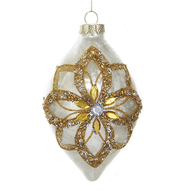 Kurt Adler Glass Ivory Ornament Gold Glitter Poinsettia Design -Finial