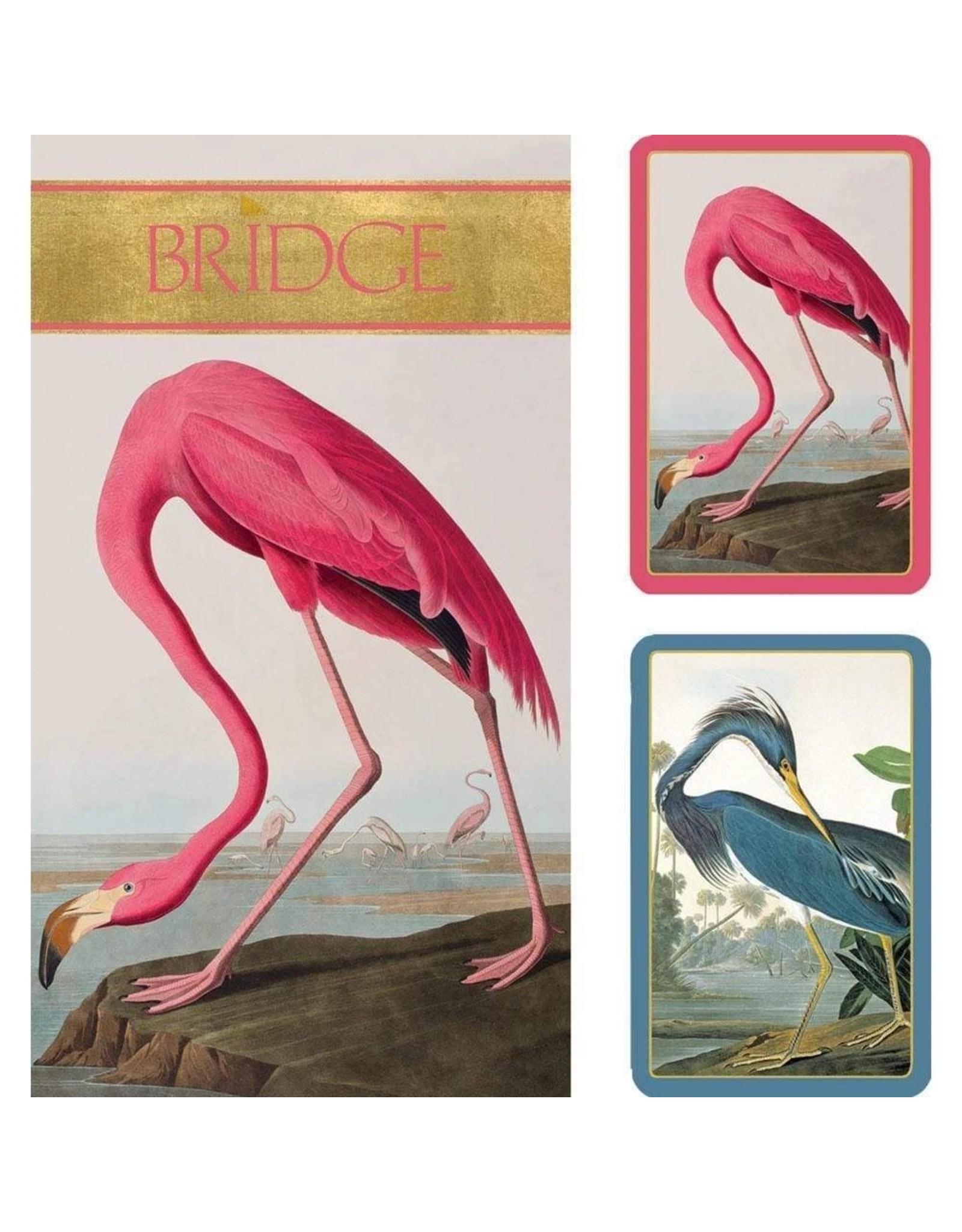 Caspari Bridge Gift Set Large Type w 2 Card Decks 2 Score Pads - Audubon Birds