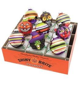 Christopher Radko Shiny Brite Halloween Ornaments Rounds N Figures 9pc