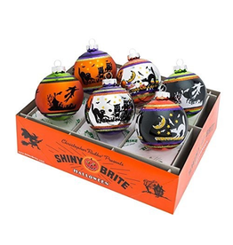 Christopher Radko Shiny Brite Halloween Ornaments Flocked Rounds 6pc 3.25in
