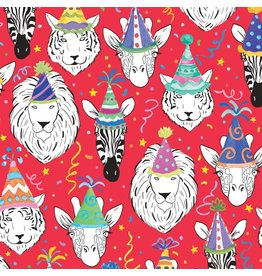 Caspari Gift Wrapping Paper 5ft Roll Safari Birthday In Red