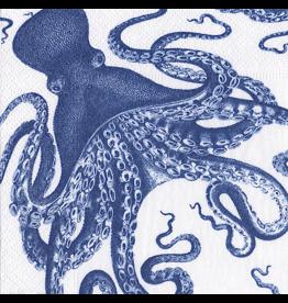 Caspari Paper Cocktail Napkins 20ct Lucy Blue Octopus
