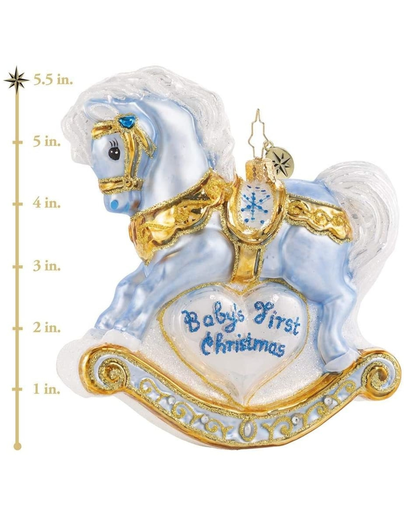 Christopher Radko Baby's First Christmas Foal Blue Pony Rocking Horse Ornament 5 inch