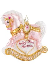 Christopher Radko Baby's First Christmas Filly Pink Pony Rocking Horse Ornament 5 inch