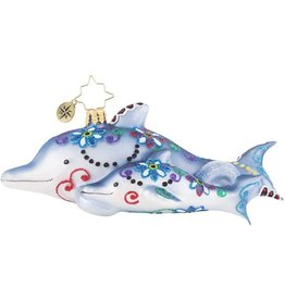 Christopher Radko Swimming Through Florals Dolphins Ornament 6 inch