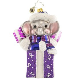 Christopher Radko Always On My Mind Elephant Alzheimer's Ornament