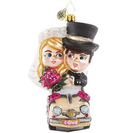 Christopher Radko Riding Merrily in Matrimony Just Married Ornament