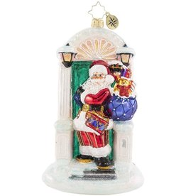 Christopher Radko Knock Knock Santa's Here Christmas Ornament