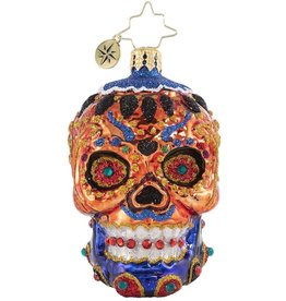 Christopher Radko Colorful Calavera Skull Day Of The Dead Gem Ornament