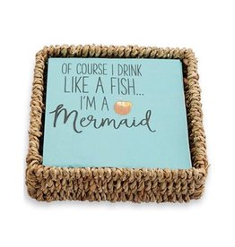 Mud Pie Cocktail Napkins w Basket - Of Course I Drink Like A Fish Im A Mermaid