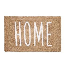 Mud Pie Jute Home Mat 23x36 Braided Jute Doormat w Printed HOME