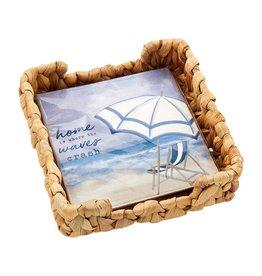 Mud Pie Beach Cocktail Napkins In Basket Weave Holder Set - Chair