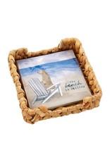 Mud Pie Beach Cocktail Napkins In Basket Weave Holder Set - Dog
