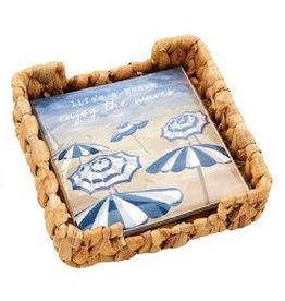 Mud Pie Beach Cocktail Napkins In Basket Weave Holder Set - Umbrella