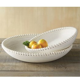 Mud Pie Nested Beaded Bowl Set 14 and 18 Inch