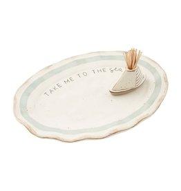 Mud Pie Sea Platter w Sailboat Toothpick Holder Set - Take Me To The Sea