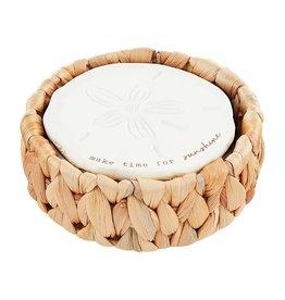 Mud Pie Sand Dollar Coasters In Basket Holder Set