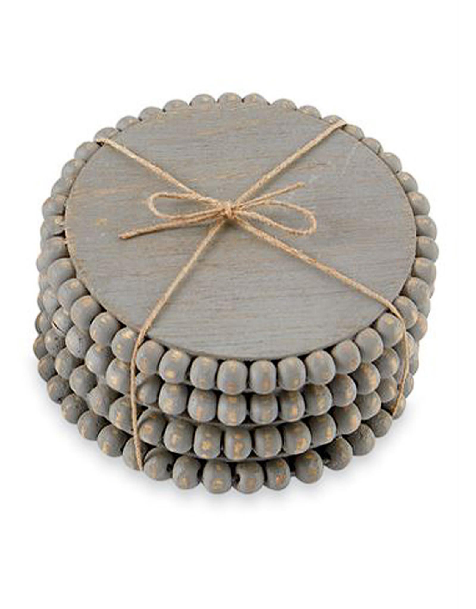 Mud Pie Beaded Wood Coasters Set of 4 In Gray