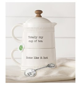 Mud Pie Stacking Tea For One Set - Teapot Mug And Spoon