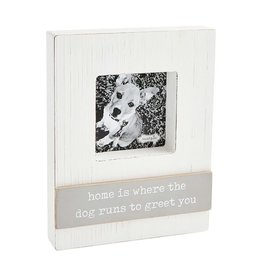 Mud Pie Block Photo Frame w Home Is Where the Dog Runs To Greet You
