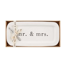 Mud Pie Mr And Mrs Hostess Set Ceramic Tray And Spreader