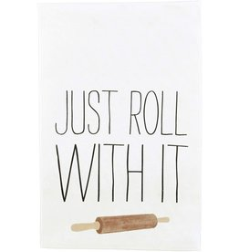 Mud Pie Funny Cooking Hand Towel 26x16.5 | Just Roll With It