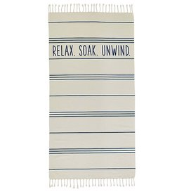 Mud Pie Turkish Beach Pool Towels 70x36 | Relax Soak Unwind