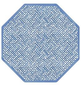 Caspari Blue Fretwork Placemat Single Hardboard Vinyl Coated Place Mat