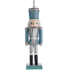 Kurt Adler Glitter Silver Blue Nutcracker Ornament 6 Inch Silver Blue Hat