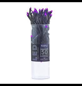 Kurt Adler Halloween 50 Light String Set 5MM Wide Angle LED Purple