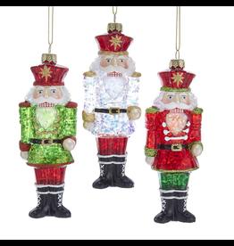 Kurt Adler Glass Nutcracker Glittered Clear Glass Ornament 3