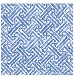 Caspari Paper Cocktail Napkins 20pk Fretwork In Blue