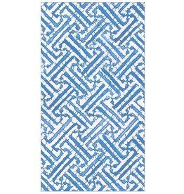 Caspari Paper Guest Towel Napkins 15pk Fretwork Blue