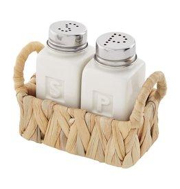 Mud Pie Stoneware Salt And Pepper Set In Hyacinth Basket