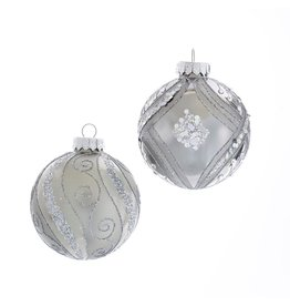 Kurt Adler Silver And Glitter Glass Ball Ornaments Set of 6 80mm