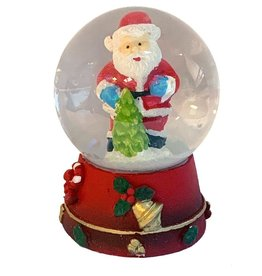 Kurt Adler Mini Christmas Snow Globe Santa With Christmas Tree