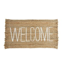 Mud Pie Jute Welcome Mat 23x36 Braided Jute Doormat w Printed WELCOME
