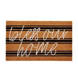 Mud Pie Bless Our Home Doormat Woven Coir Mat 20x18 Inch