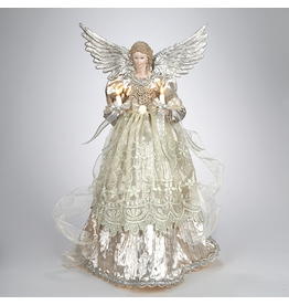 Kurt Adler Christmas Angel Tree Topper 10 Light 16 inch Platinum Angel